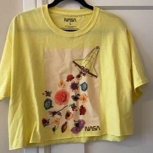 NWOT NASA yellow floral cropped shirt tee